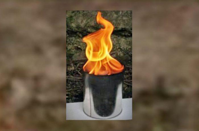 Fackeltopf mit großer Flamme